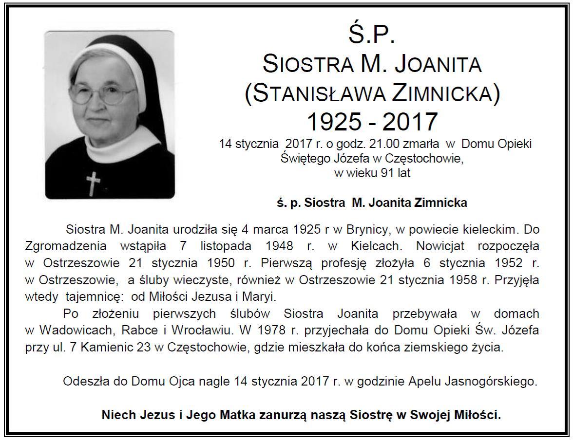 śp. S.M. Joanita Zimnicka